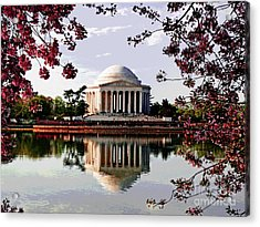 Cherry Blossoms At Jefferson Memorial Acrylic Print