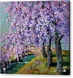 Acrylic Print featuring the painting Cherry Blossoms by Marta Styk