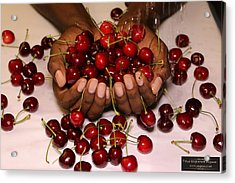 Cherry In The Hands Acrylic Print by Paul SEQUENCE Ferguson             sequence dot net