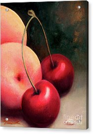 Acrylic Print featuring the painting Cherry Peach by Michael Rock