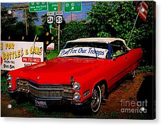 Cherry Red American Patriot 1966 Cadillac Coupe De Ville Acrylic Print by Peter Gumaer Ogden