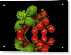 Acrylic Print featuring the photograph Cherry Tomatoes And Basil by David French