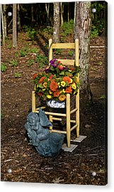 Cherub And Chair Acrylic Print by Douglas Barnett