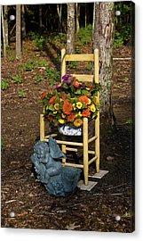 Cherub And Chair Acrylic Print by Douglas Barnett
