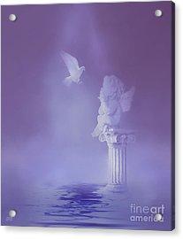 Cherub And Dove Acrylic Print by KaFra Art