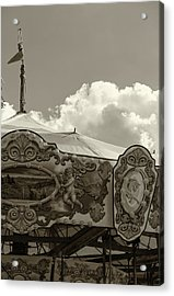 Acrylic Print featuring the painting Cherub In The Clouds by Lesley Spanos