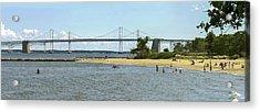 Chesapeake Bay Bridge And Beach - Pano Acrylic Print