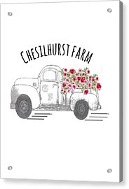 Acrylic Print featuring the drawing Chesilhurst Farm by Kim Kent