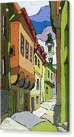 Chesky Krumlov Street Nove Mesto Acrylic Print by Yuriy  Shevchuk