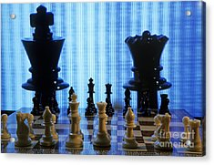Chess Board With King And Queen Chess Pieces In Front Of Tv Scre Acrylic Print by Sami Sarkis