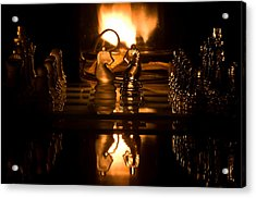 Chess Knights And Flame Acrylic Print