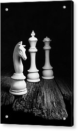Chess Pieces On Old Wood Acrylic Print
