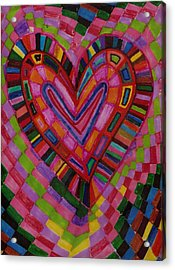 Chessire Heart Acrylic Print by Brenda Adams