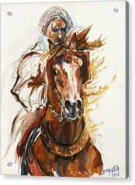 Cheval Arabe Monte En Action Acrylic Print by Josette SPIAGGIA