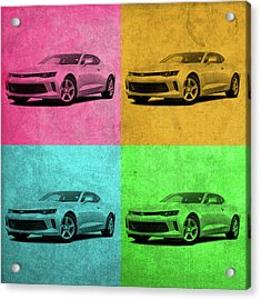 Chevrolet Camaro Vintage Pop Art Acrylic Print by Design Turnpike