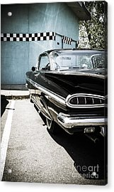 Chevrolet Impala In Front Of American Diner Acrylic Print by Perry Van Munster