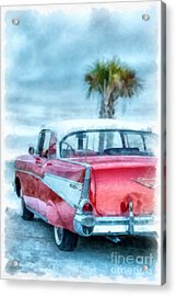 Chevy Belair At The Beach Watercolor Acrylic Print