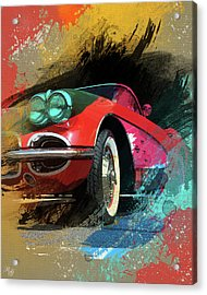 Chevy Corvette Digital Art Acrylic Print by Ron Grafe