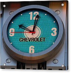 Chevy Neon Clock Acrylic Print by Rob Hans