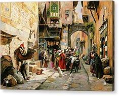 Chiacchiere Al Mercato Acrylic Print by Guido Borelli