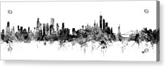 Chicago And New York City Skylines Mashup Acrylic Print