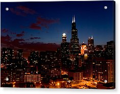 Chicago At Night Acrylic Print by Don Mennig