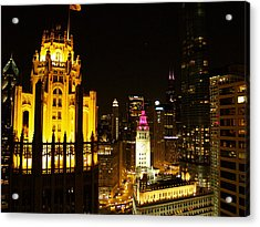 Chicago At Night  Acrylic Print by Jacob Stempky