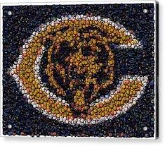 Chicago Bears Bottle Cap Mosaic Acrylic Print by Paul Van Scott