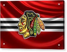 Chicago Blackhawks - 3 D Badge Over Silk Flag Acrylic Print by Serge Averbukh