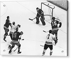 Chicago Blackhawks Bobby Hull Scores On Rangers Ed Giacomin. 1966 Acrylic Print by William Jacobellis