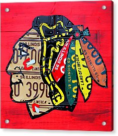 Chicago Blackhawks Hockey Team Vintage Logo Made From Old Recycled Illinois License Plates Red Acrylic Print by Design Turnpike