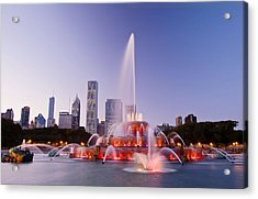 Chicago Buckingham Fountain At Twilight Acrylic Print by Abhi Ganju