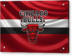 Chicago Bulls - 3 D Badge Over Flag Acrylic Print