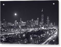 Chicago By Night Acrylic Print by Steve Gadomski