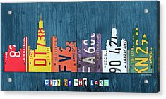Chicago City By The Lake Recycled Vintage Skyline License Plate Art Acrylic Print
