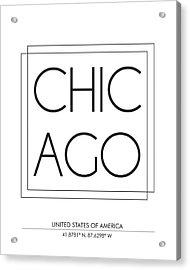 Chicago City Print With Coordinates Acrylic Print