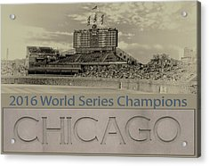 Chicago Cubs 2016 World Series Scoreboard Acrylic Print by Thomas Woolworth