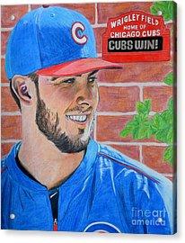 Chicago Cubs Kris Bryant Portrait Acrylic Print by Melissa Goodrich