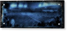 Chicago Cubs Night Game October 8th 2016 Blue Acrylic Print by Thomas Woolworth