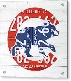 Chicago Cubs Retro Vintage Baseball Logo License Plate Art Acrylic Print by Design Turnpike