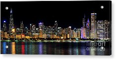 Chicago Cubs Skyline Acrylic Print by Jeff Lewis