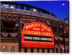 Chicago Cubs Win Acrylic Print by Andrew Soundarajan