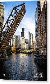 Chicago Downtown And Kinzie Street Railroad Bridge Acrylic Print