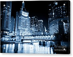 Chicago Downtown Loop At Night Acrylic Print by Paul Velgos