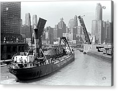 Acrylic Print featuring the photograph Chicago Draw Bridge 1941 by Daniel Hagerman