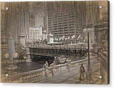 Chicago Dusable Bridge Street Scene Acrylic Print