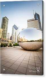 Chicago Gloud Gate And Chicago Skyline Photo Acrylic Print by Paul Velgos