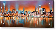 Chicago Glow At Night Acrylic Print by Niphon