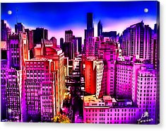 Chicago Glowing Acrylic Print by Kathy Tarochione