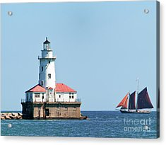 Chicago Harbor Lighthouse And A Tall Ship Acrylic Print